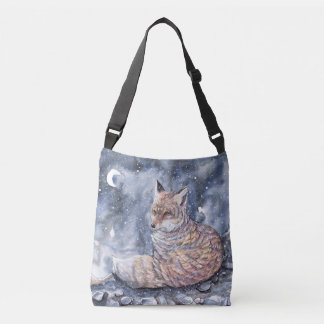 Resting Winter Fox Crossbody Bag