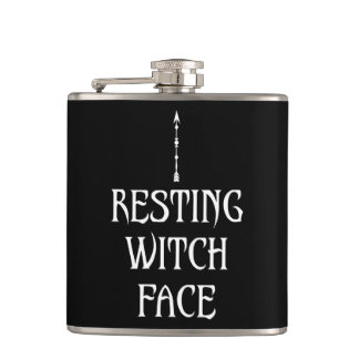 Resting Witch Face Hip Flask