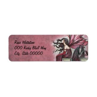 Restless Ruby Fairy and Dragon Fantasy Art Return Address Label