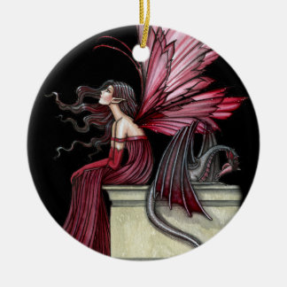 Restless Ruby Fairy and Dragon Ornament