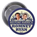 Restore America: Romney & Ryan 7.5 Cm Round Badge