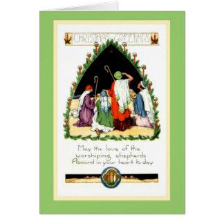 Restored Art Nouveau Christmas Shepherds Card