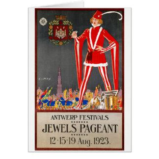 Restored Belgium Antwerp Vintage Travel Poster Card