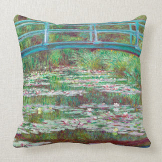 Restored Color Japanese Footbridge by Monet Cushion