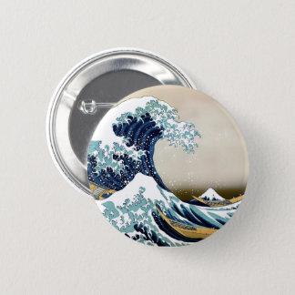 Restored Great Wave off Kanagawa by Hokusai 6 Cm Round Badge