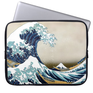 Restored Great Wave off Kanagawa by Hokusai Laptop Sleeve