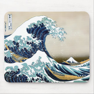 Restored Great Wave off Kanagawa by Hokusai Mouse Pad