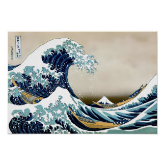 Restored Great Wave off Kanagawa by Hokusai Poster