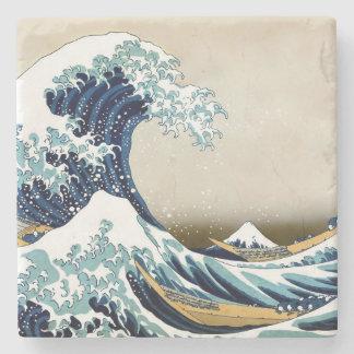 Restored Great Wave off Kanagawa by Hokusai Stone Coaster