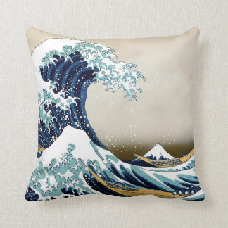 Restored Great Wave off Kanagawa by Hokusai Throw Pillow