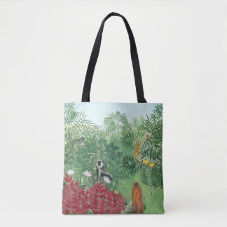 Restored Henri Rousseau Tropical Jungle w Monkeys Tote Bag