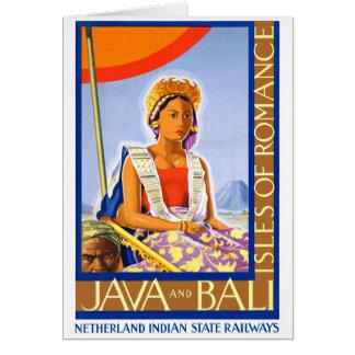 Restored Java and Bali Vintage Travel Poster Card