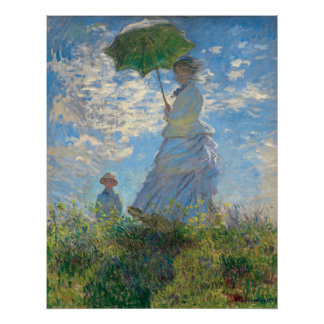 Restored Monet's Woman with a Parasol The Stroll Poster