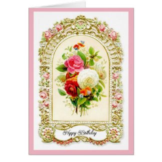 Restored Pink Vintage Style Birthday Card