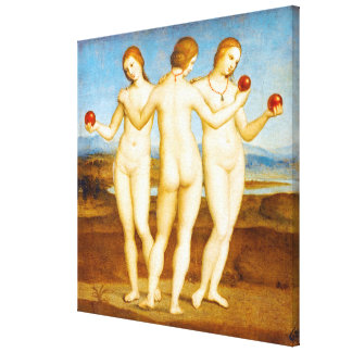 Restored Raphael Classic The Three Graces Painting Canvas Print