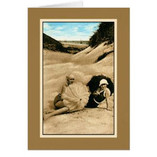 Restored vintage bathing beauties, dunes card