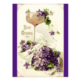 Restored Vintage Best Wishes Postcard