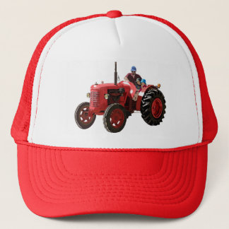 restored vintage red tractor trucker hat