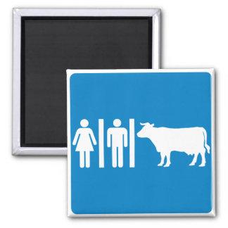 Restroom Facilities Humorous Highway Sign - COWS? Refrigerator Magnet