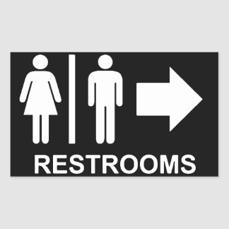Restroom sign arrow rectangular sticker