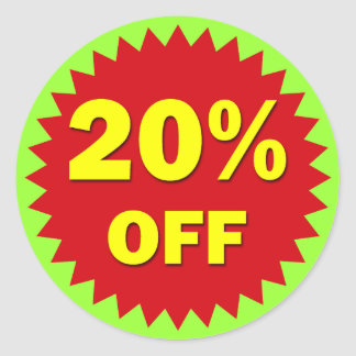RETAIL BADGE - 20% OFF ROUND STICKER