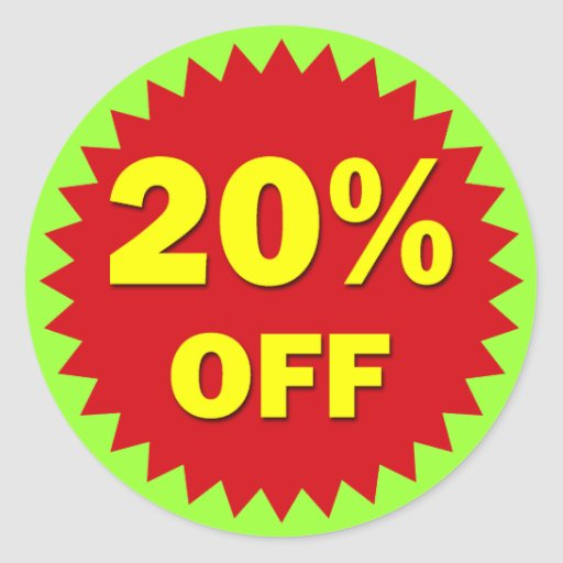 RETAIL BADGE - 20% OFF ROUND STICKERS