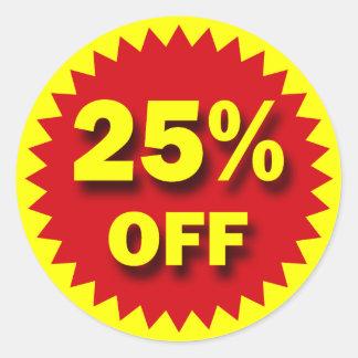 RETAIL BADGE - 25% OFF ROUND STICKER
