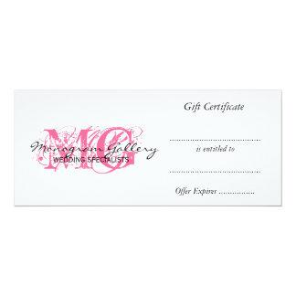 Retail Business Gift Certificate Pink Monogram 10 Cm X 24 Cm Invitation Card