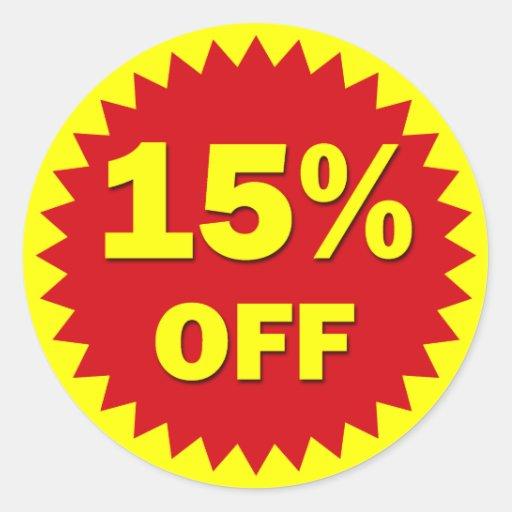 RETAIL SALE BADGE - 15% OFF ROUND STICKER