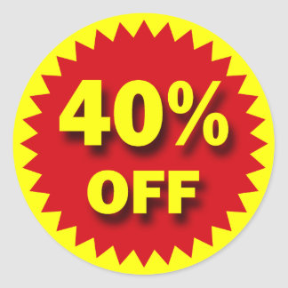 RETAIL SALE BADGE - 40% OFF ROUND STICKERS