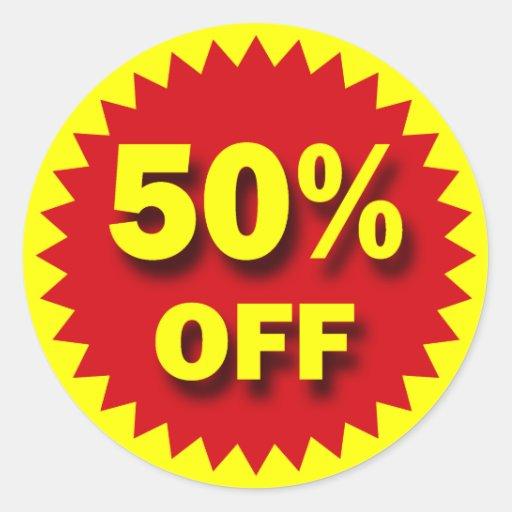 RETAIL SALE BADGE - 50% OFF ROUND STICKER