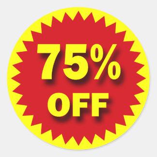 RETAIL SALE BADGE - 75% OFF ROUND STICKER