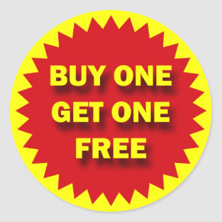 RETAIL SALE BADGE - BUY ONE GET ONE FREE CLASSIC ROUND STICKER