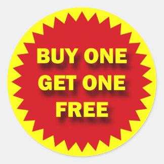 RETAIL SALE BADGE - BUY ONE GET ONE FREE ROUND STICKER