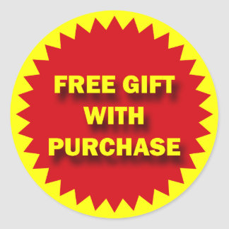 RETAIL SALE BADGE - FREE GIFT WITH PURCHASE ROUND STICKER