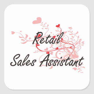 Retail Sales Assistant Artistic Job Design with He Square Sticker