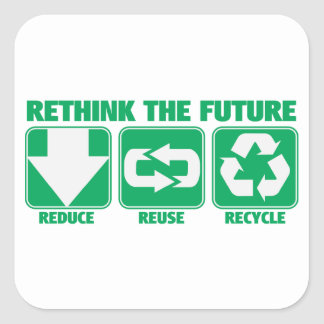 Rethink The Future, Recycle Square Sticker