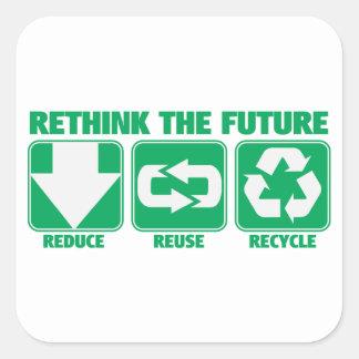 Rethink The Future, Recycle Square Sticker