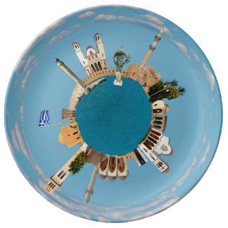 Rethymno city Greece little tiny planet landmark a Plate