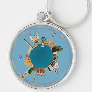 Rethymno city Greece little tiny planet landmark a Silver-Colored Round Key Ring