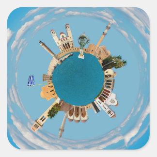 Rethymno city Greece little tiny planet landmark a Square Sticker