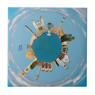 Rethymno city Greece little tiny planet landmark a Tile