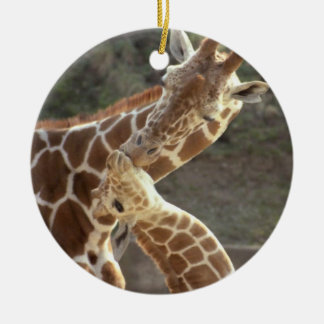 reticulated giraffes round ceramic decoration