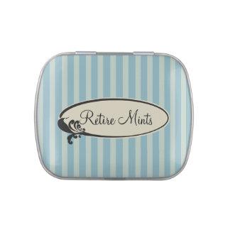 """""""Retire Mints"""" Vintage Blue Stripes Candy Tin"""