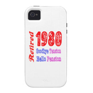 Retired 1980 Goodbye Tension Hello Pension iPhone 4/4S Covers