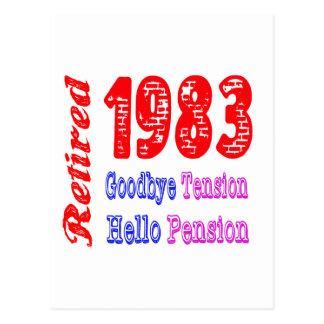Retired 1983 Goodbye Tension Hello Pension Postcard