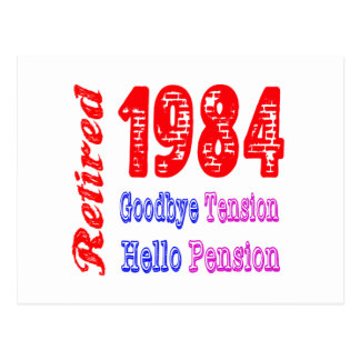 Retired 1984 Goodbye Tension Hello Pension Post Cards