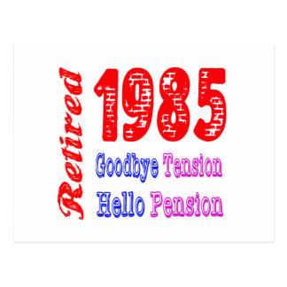 Retired 1985 Goodbye Tension Hello Pension Postcard