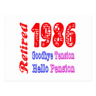 Retired 1986 Goodbye Tension Hello Pension Post Cards