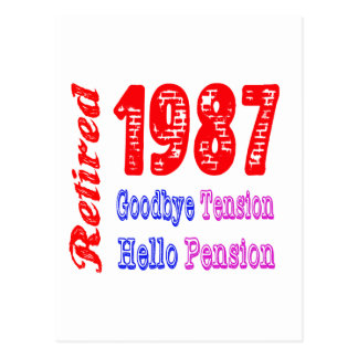 Retired 1987 Goodbye Tension Hello Pension Post Cards